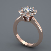 14K Rose Gold Diamond Engagement Ring with Moissanite Center   Style- 36RGDME