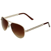 Chain Link Aviator Sunglasses | Shop Junior Clothing at Wet Seal