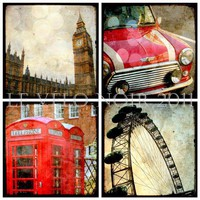 London Red British England Set of Four Ttv Inspired by VeloNoir