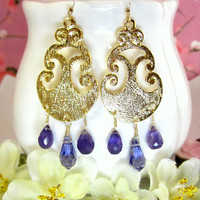 Purple amethyst arabesque gold chandelier earrings