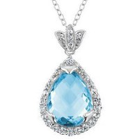 Large Blue Topaz Tear Drop Pendant Necklace 10 Carat (ctw) in Sterling Silver with Chain: Jewelry: Amazon.com