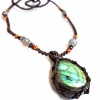 Organic LABRADORITE macrame Necklace   |  Earth Cultured