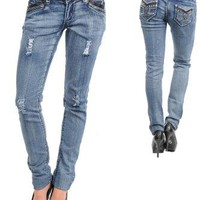 NEW 0 1 7 9 15 Light Distress Blue Skinny Jeans Leather Accents FREE SHIPPING