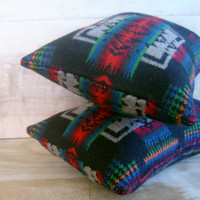 Pendleton Wool Pillow Pair 9x12 by RobinCottage on Etsy