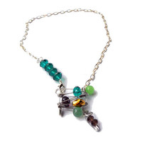 FOR HER Safety pins  necklace bib silver emerald green, purple and golden beads with charm - one of a kind - OOAK