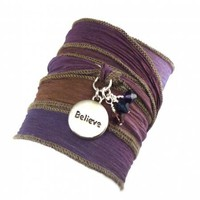 Silk Ribbon Wrap Bracelet with Words | charmed design