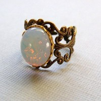 White Opal Ring On Antiqued Brass Filigree by pinkingedgedesigns