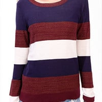 Metallic-Blend Colorblock Sweater