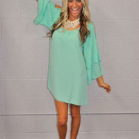 Southern Belle Open Shoulder Mint Dress