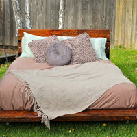 California ROSEBUD Reclaimed Douglas Fir Wood Queen Size Bed Frame and Headboard