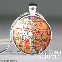 Salt Lake City map pendant charms,map resin pendants,Utah- M1022CP
