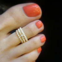 Toe Ring, Petite Cream Pearls, Bead Toe Ring