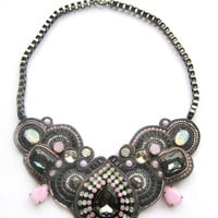 ROCK&#x27;n&#x27;ROLL QUEEN soutache statement necklace in gunmetal with rose water opal and white opal Swarovski crystals