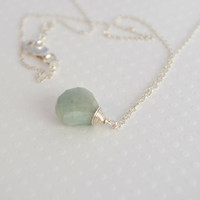 Necklace Moss Aquamarine Sterling Silver Wire by BelleReveDesigns