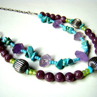 Multistrand necklace with gemstones of faceted by ElephantBeads