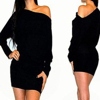 SEXY BLACK OFF SHOULDER KIMONO SLEEVES COCKTAIL SWEATER DRESS M