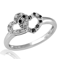 1/6 CT. T.W. Enhanced Black and White Diamond Double Heart Promise Ring in Sterling Silver - View All Rings - Zales