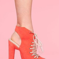 Corset Suede Platform - Coral in  Shoes at Nasty Gal