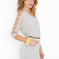 Strapped Dolman Dress - Silver in  Clothes at Nasty Gal