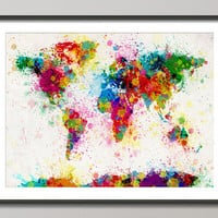 Paint Splashes Map of the World Map Art Print 18x24 by artPause