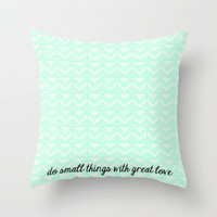 Mint Tiles Throw Pillow by Katie Wohl | Society6