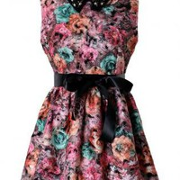 Floral Dress with Black Tie Belt & Bead Embellished Collar