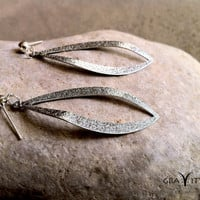 Silver Summer  Silver Curved  Leaf Earrings  by GRAVITYjewels