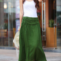 Summer Maxi skirt Long  Linen Skirt In Forest Green - NC342