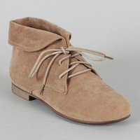 Breckelle Sandy-51 Suede Collar Lace Up Bootie