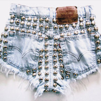 The Monica Shorts bleached distressed studded by Shopwunderlust