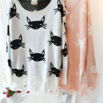 White Long Sleeve Cat Print Destroyed Sweater