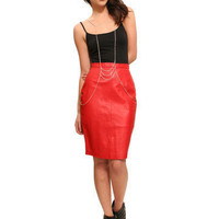 GYPSY WARRIOR - Lipstick Red Leather Skirt