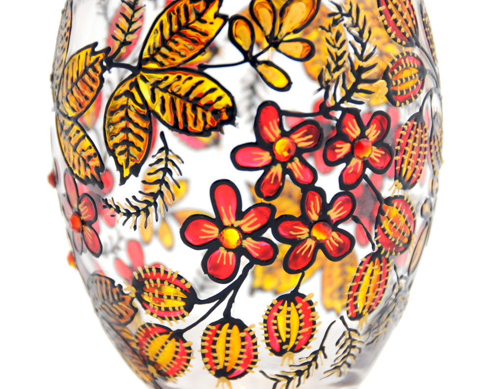 Hand Painted Glass Jar With Lid, Gooseberries, Khokhloma-inspired | Luulla