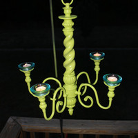 Lime Green Candelabra/ Outdoor Chandelier Decor /Shabby Chic Patio/ Romantic &amp; Relaxing Candlelight