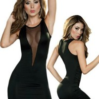 Amazon.com: Sexy Black Fishnet Inset Sleeveless Club Wear Dress - Extra Large: Clothing