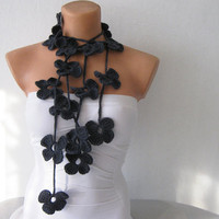 Hand Crochet Charcoal Grey Flower Lariat Scarf by fairstore