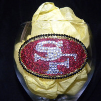 San Francisco 49er'sRhinestone Wine Glass