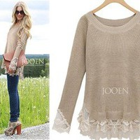 Afternoon Soiree Lace Hemed Camel Knit Cozy Soho Chic Tunic Sweater 15-67 S/M