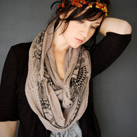 Okapi Infinity Scarf - Gravel and Black - modern native tribal printed jersey infinity circle scarf - by Bark Decor
