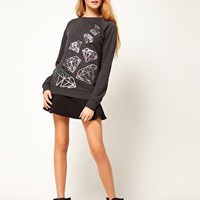 ASOS Sweatshirt with Pearlised Diamond at asos.com