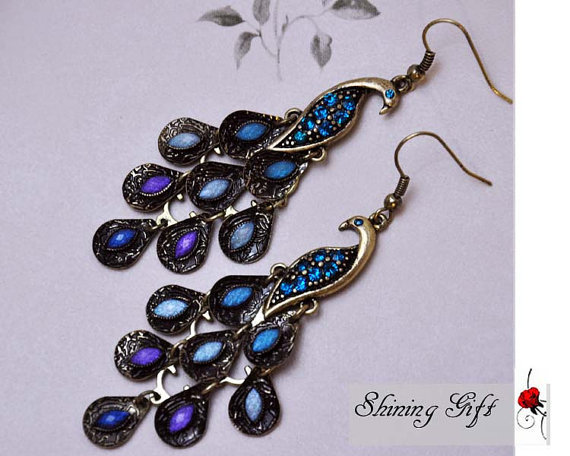 Metal Peacock earrings blue crystal peacock feather by Shininggift