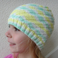 Child Hat Knit Green Yellow Stripes