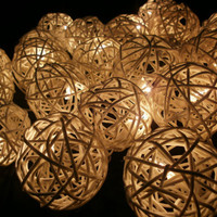 White Rattan balls Hanging stringlights for party and home decoration indoor and outdoor (20 balls/pack)