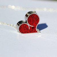 Heart Necklace - Stainless Steel with Tinted Concrete - asymmetrical heart, romance, valentines day, for her, love, passion