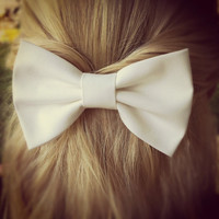 white BIG Bow  hair bow by colordrop on Etsy