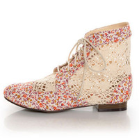 Privileged Liz Orange Floral Fab &amp; Crocheted Spectator Booties - &amp;#36;38.00