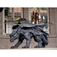 Warwickshire Dragon Glass-Topped Coffee Table - CL3039                    - Design Toscano
