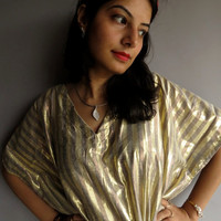 Gold Shimmer kaftan Robe Perfect short dress spa by silkandmore