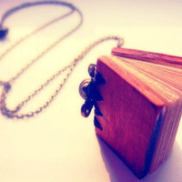 Vintage Antique Brass Little Diary Book Necklace Long Necklace - Free Shipping - Made to order :)