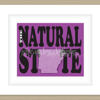 8x10 Arkansas Print, The Natural State Typography Art Custom Color Map Art